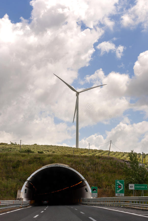 Wind turbine and wind tunnel royalty free stock photos