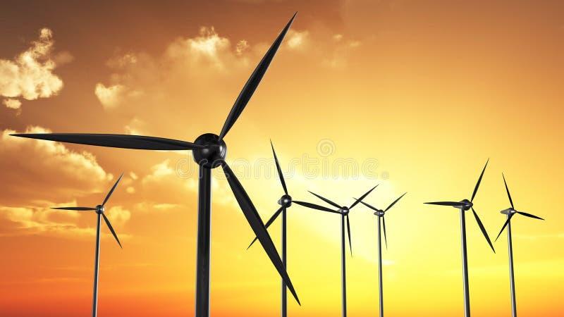 Wind-Turbinen im Sonnenuntergang vektor abbildung