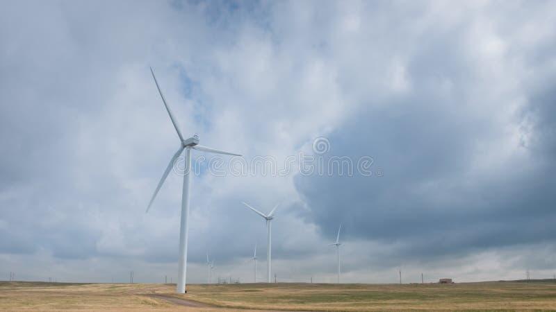 Wind Turbines. Farm with alternative energy source in Cheyenne, WY stock photography