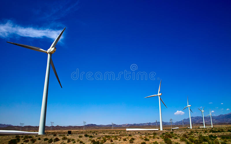Wind turbines. On the Gobi Desert royalty free stock photo