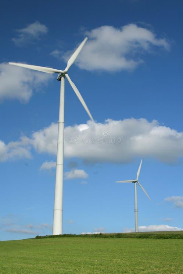 Wind turbines. Providing clean energy stock photography