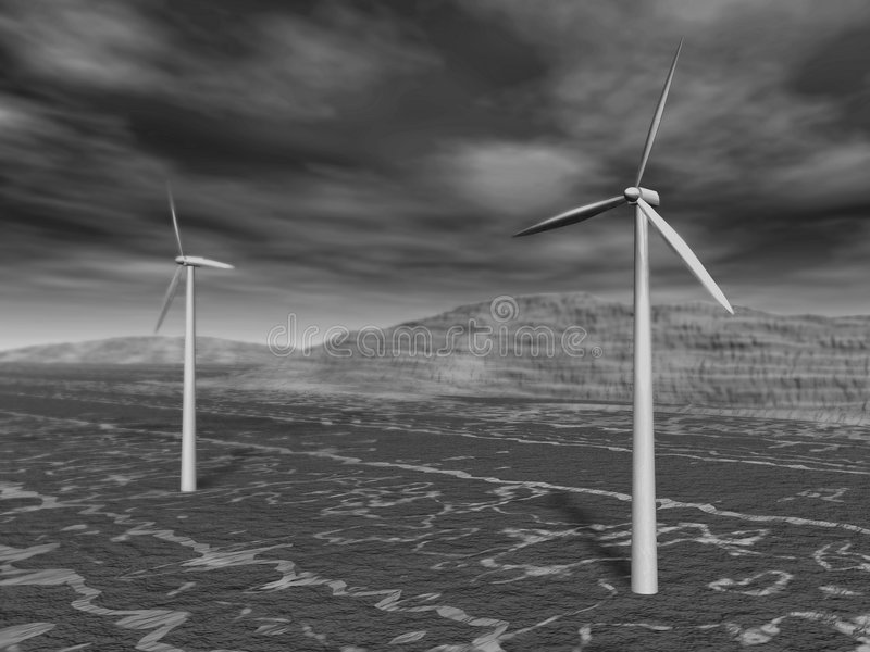 Wind turbines. 3d rendering of some wind turbines in a landscape stock illustration