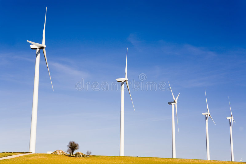 Wind turbines. Photo of wind turbines field stock photo