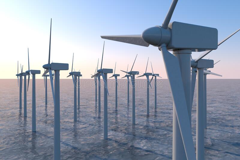 Wind turbines above sea level. Stores energy in the wind. 3D illustration. Install a wind turbine in consideration of the global environment. Huge wind engine stock illustration