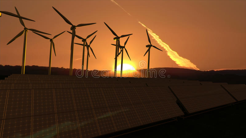 Download Wind turbines in activity stock image. Image of sunny - 14741095