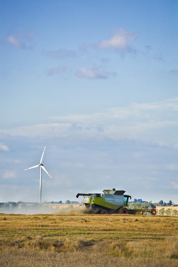 Wind turbines and agriculture stock photos