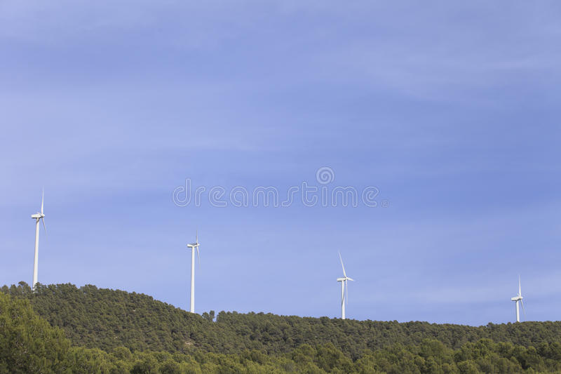 Wind turbines. In Almansa, Albacete province, Spain stock photography