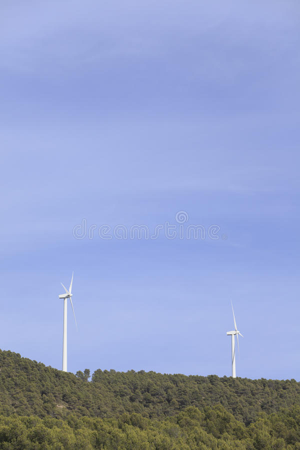 Wind turbines. In Almansa, Albacete province, Spain royalty free stock photo