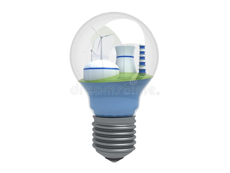 Wind turbines and atomic station stock illustration