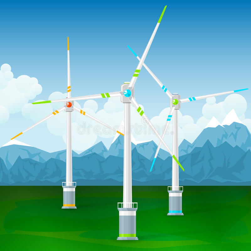 Wind Turbines on a Background of Mountains. Wind Turbines on the Ground, Horizontal Axis Wind Turbines on a Background of Mountains , Modern Low-Wind Turbine vector illustration