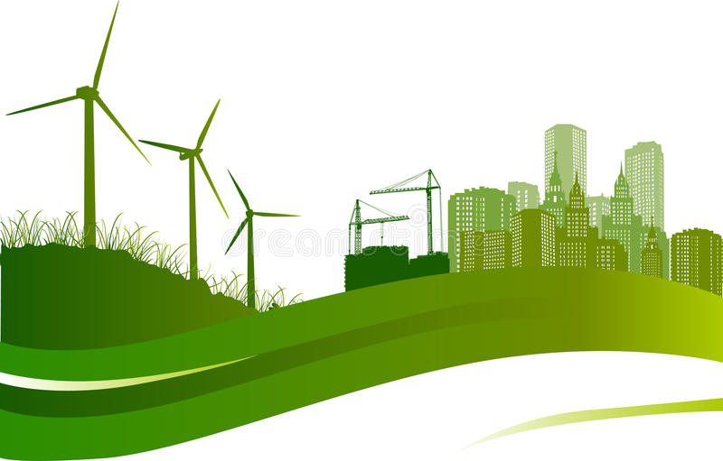 Wind Turbines And City Illustration Royalty Free Stock Images