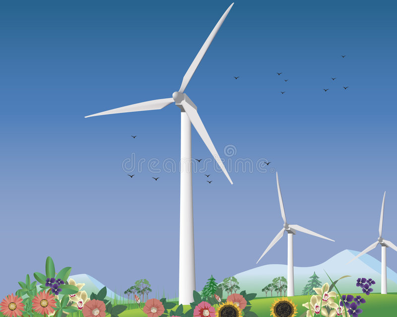 Wind turbines for clean energy stock photos