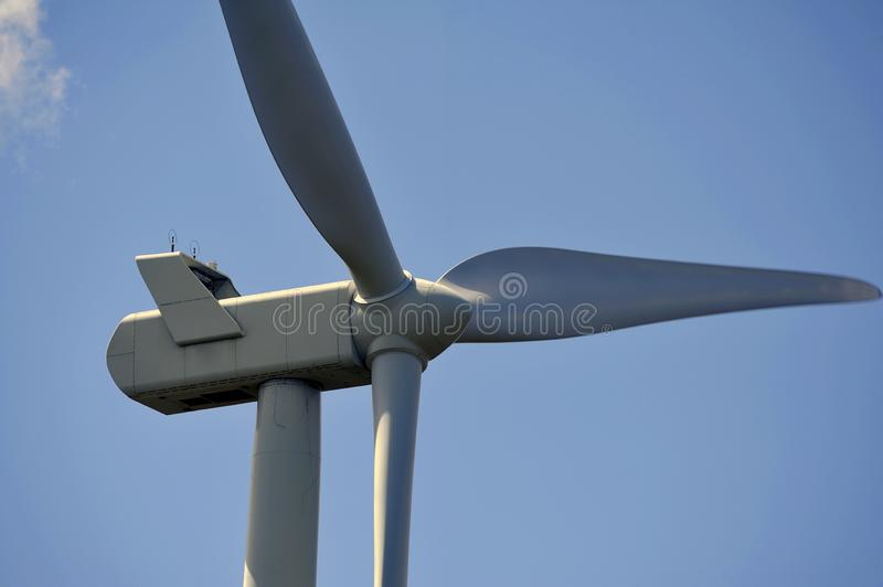 Wind turbines close-up on propellers royalty free stock photos