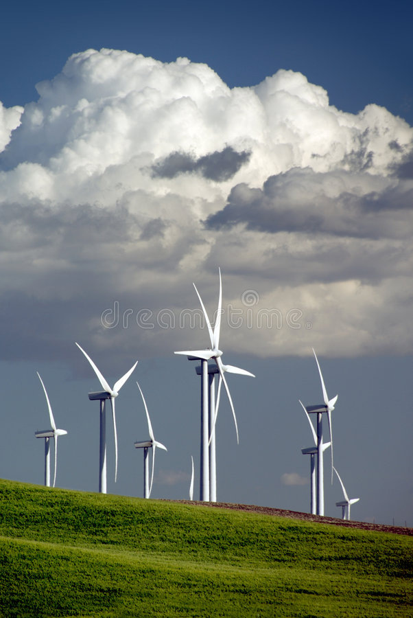 Download Wind Turbines and Clouds stock image. Image of blades - 2482661