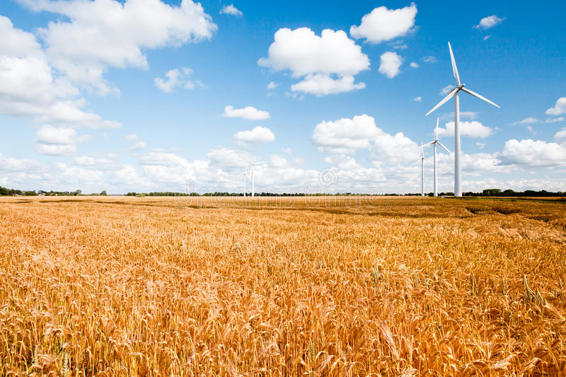 Wind turbines in countryside stock photography