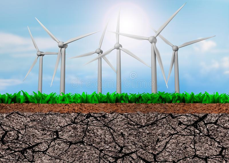 Wind turbines on green grass and dry soil cross section. Wind turbines on cross section of grass and dry cracked soil texture, with sunny blue sky background royalty free illustration