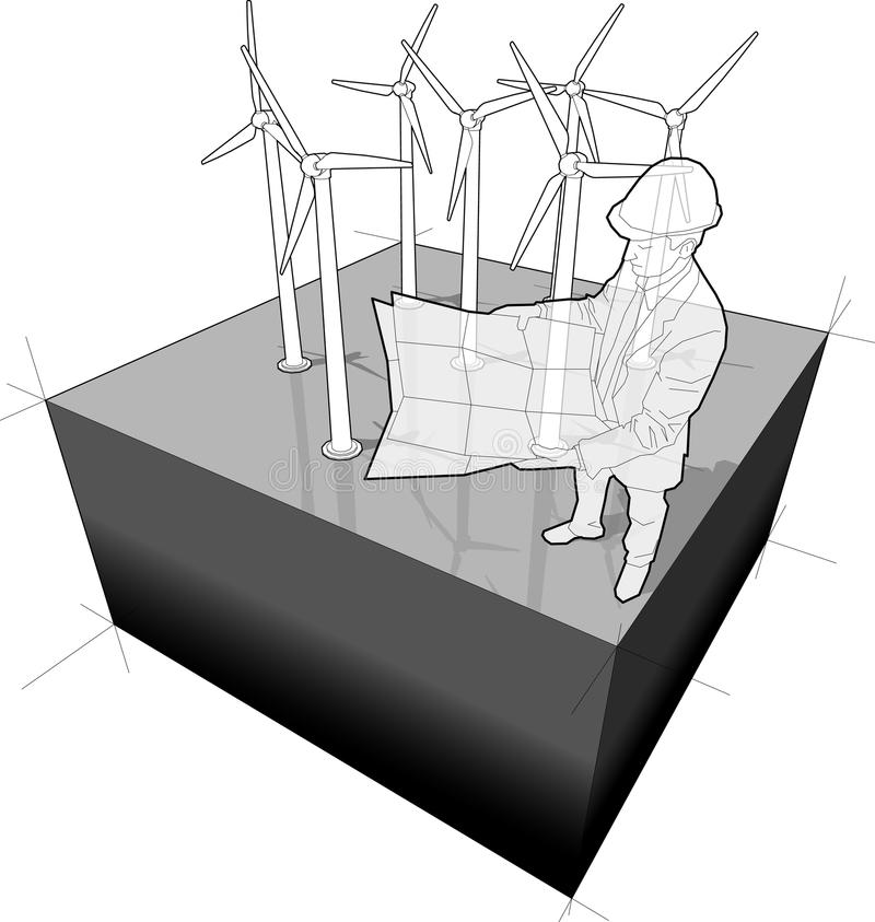 Wind Turbines Diagram With Architect Stock Vector Illustration Of