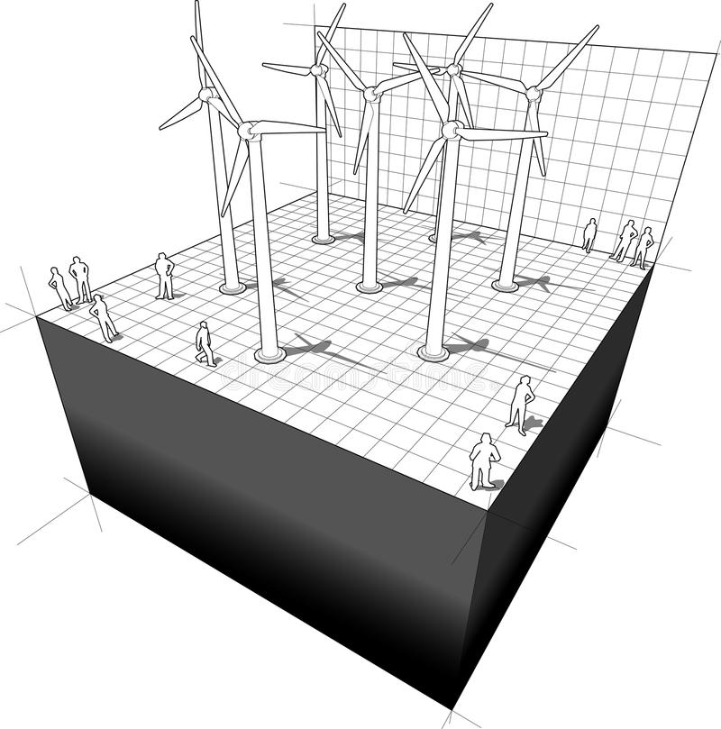 Wind turbines diagram vector illustration