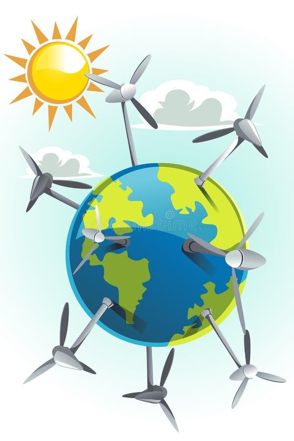 Wind turbines on earth vector illustration