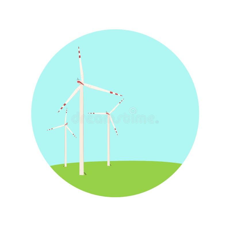 Wind turbines energy farm color blue green icon stock illustration