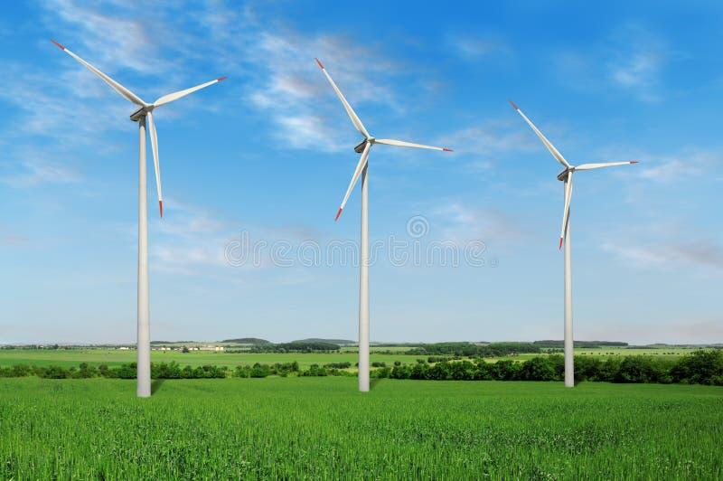 Wind turbines farm royalty free stock photography