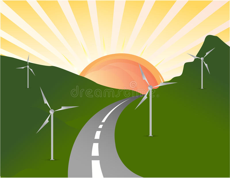 Download Wind Turbines Farm. Alternative Energy Source. Stock Illustration - Image: 20423393