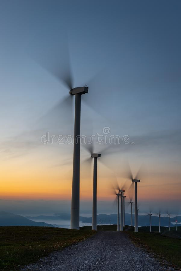 Wind turbines farm, Oiz mountain, Basque Country, Spain stock images