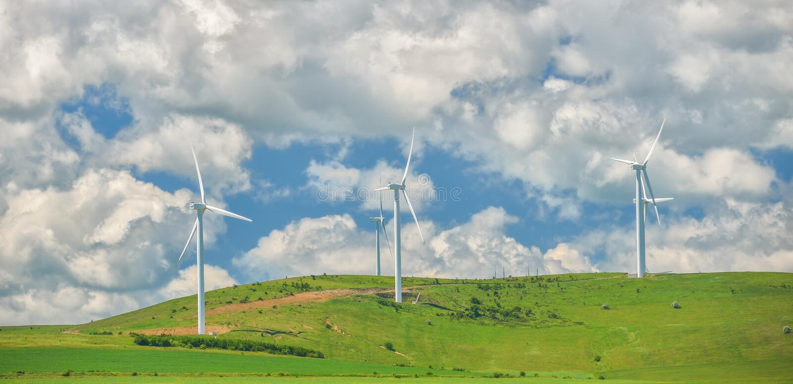 Wind turbines farm in the fields. Wind turbines farm and sky in the fileds royalty free stock photo