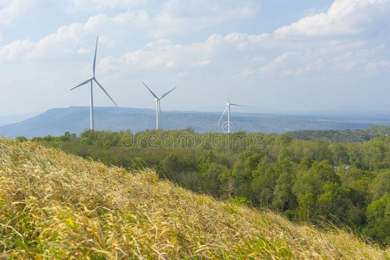 A Wind turbines farm on the hill. Alternative energy source. A Wind turbines farm on the hill. Alternative energy source in Thailand royalty free stock photo
