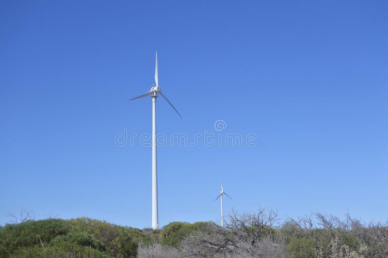Wind turbines in a wind farm stock photography