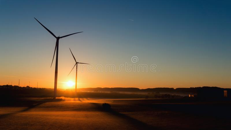 Wind turbines farm . stock photos