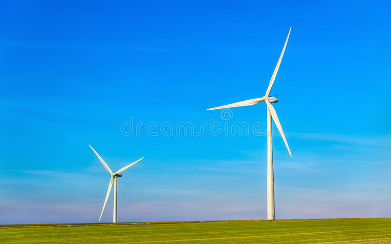 Wind turbines in a field - France, Marne Department royalty free stock photos