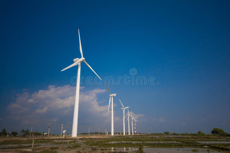 Wind turbines generating electricity in Sri Lanka. Over Kalpitiya, Puttalam stock images