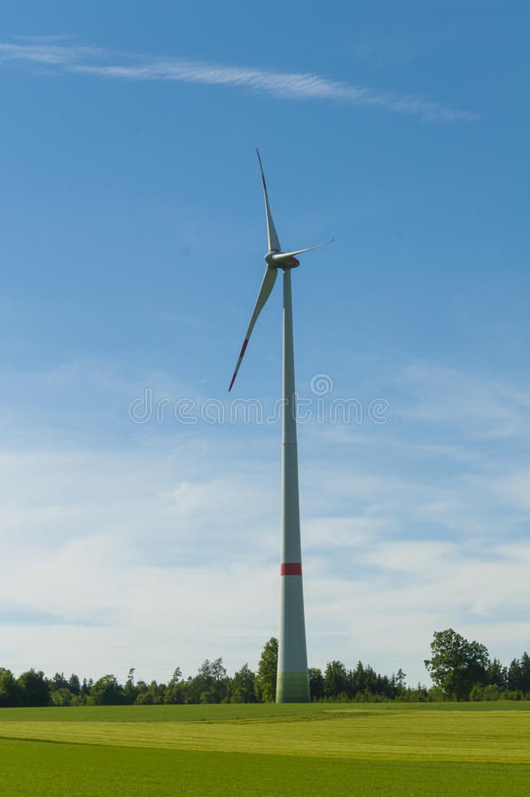 Wind turbines Green Energy. Wind power is the use of air flow through wind turbines to mechanically power generators for electric power. Wind power, as an stock photography