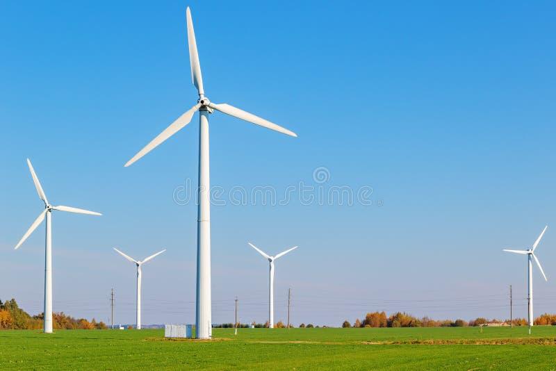Wind turbines among green field on sunny autumn day stock photo