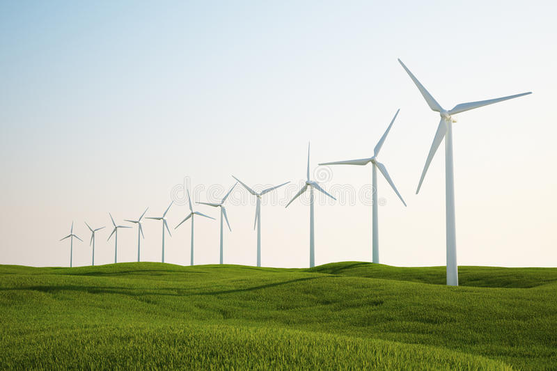 Wind turbines on green grass field vector illustration