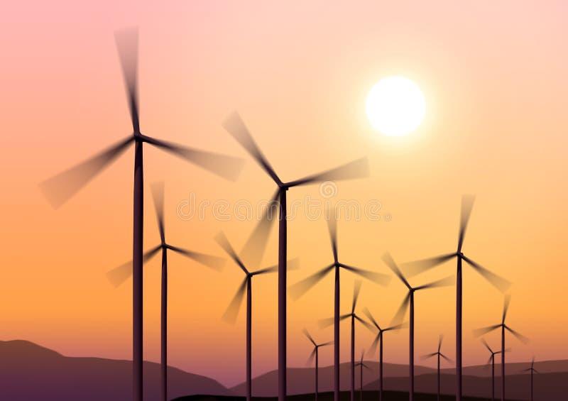 Download Wind turbines on hight sky stock illustration. Image of night - 14483307