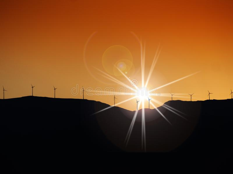 Wind turbines on hill top. Multiple wind turbines on hill top at sunset with orange sky royalty free stock photos