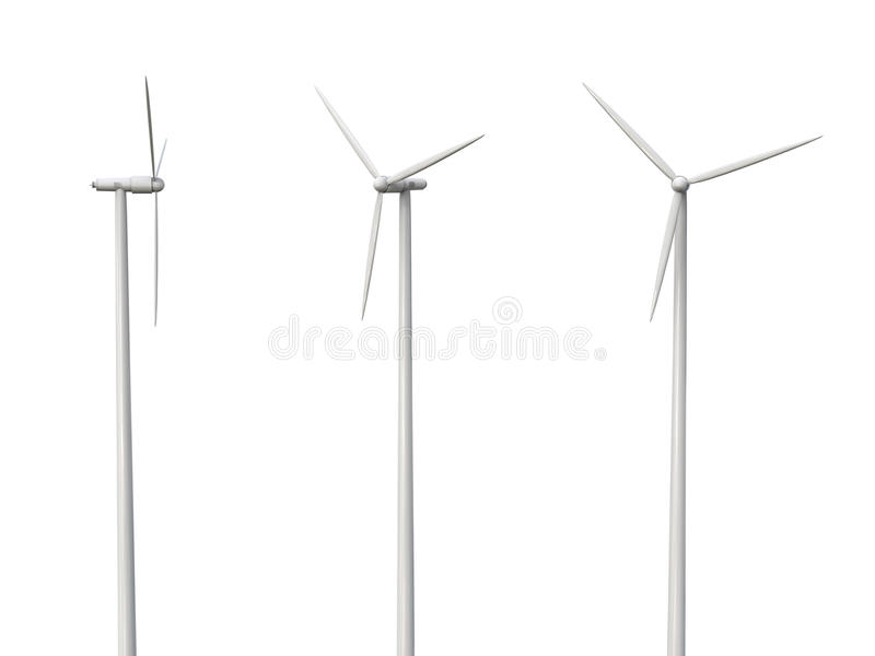 Wind turbines isolated on white stock photography