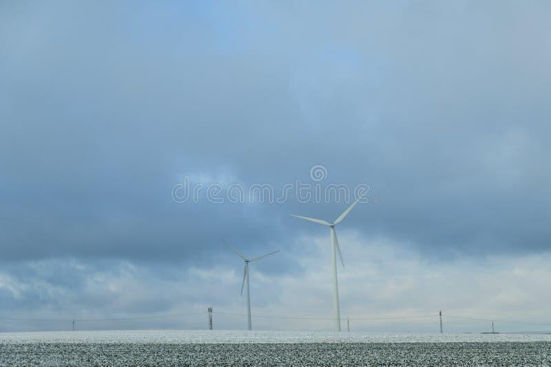 Wind turbines landscape on the field near Jihlava. Beautiful wind turbines landscape on the field near Jihlava royalty free stock image