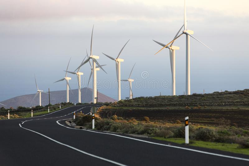 Wind turbines, Lanzarote, Spain stock photo