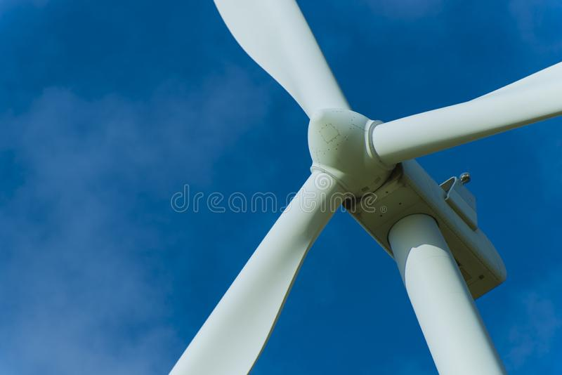 Wind turbines and the morning sky with sunlight royalty free stock photos