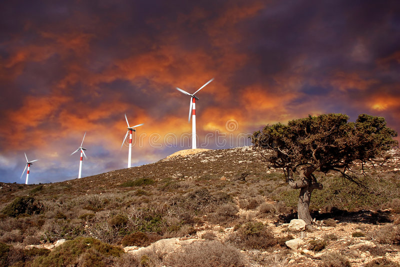 Wind Turbines In Movement Royalty Free Stock Image