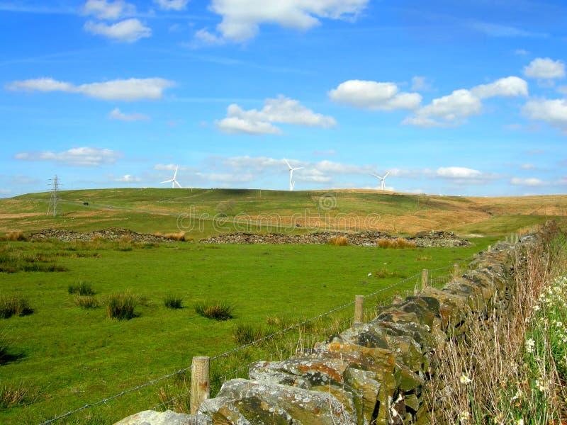Wind turbines in Pick up Bank. Darwen, England UK royalty free stock images