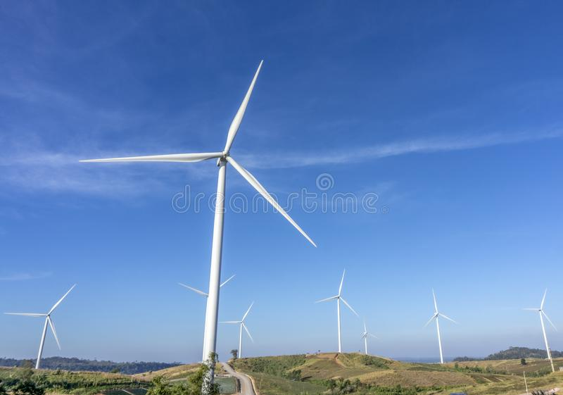 Wind turbines. Wind power generators. Alternative energy, reduce global warming. Reduce insufficient energy problems royalty free stock photo