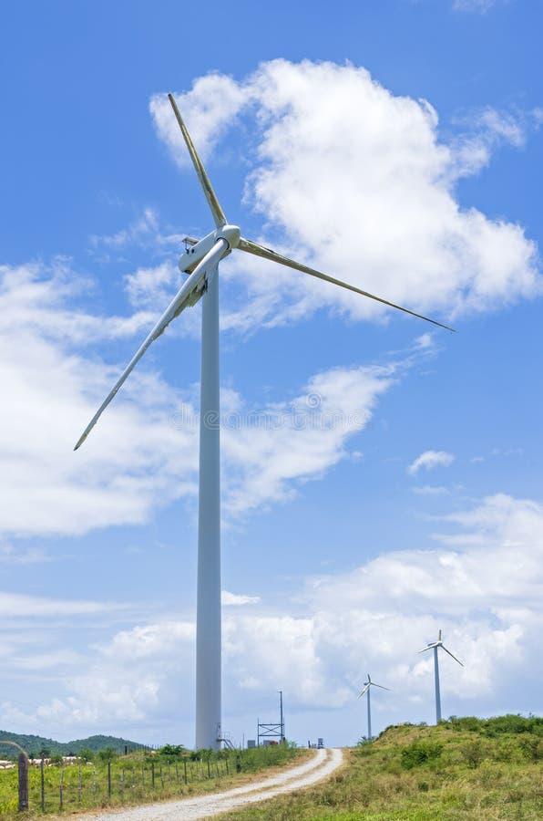 Wind Turbines at Punta Lima Wind Farm. Inoperable and damaged wind turbines at punta lima wind farm after hurricane maria in naguabo puerto rico stock image