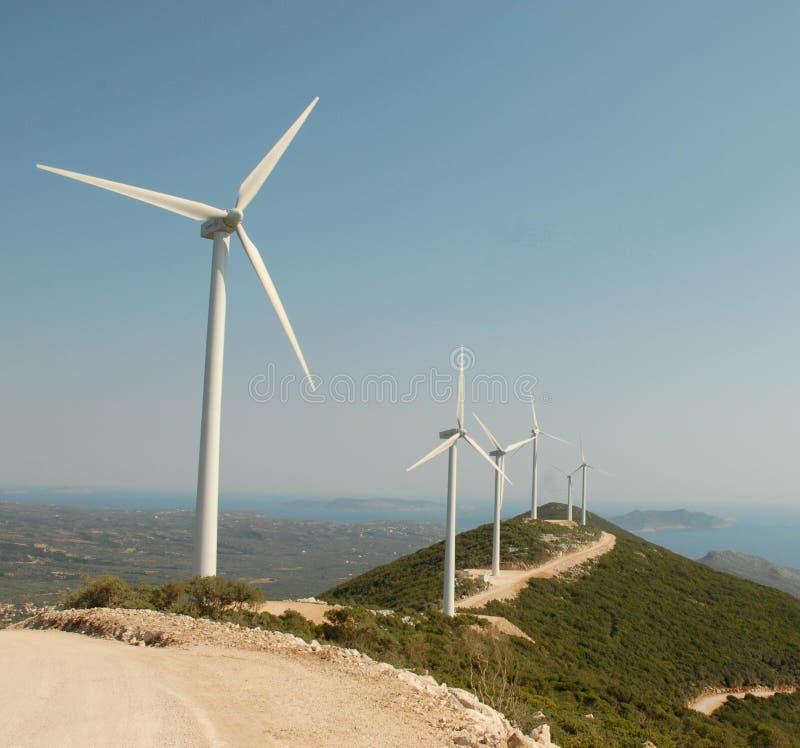 Wind turbines in Pylos stock image