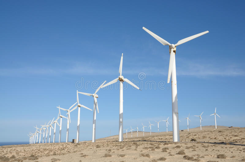 Wind turbines for renewable energy royalty free stock photography