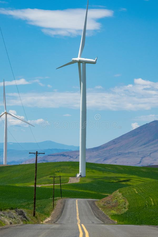 Download Wind Turbines And Wheat Fields In Eastern Oregon Stock Image - Image of environment, crops: 93574937