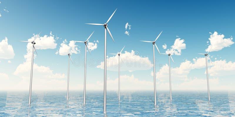 Download Wind Turbines on the Sea stock illustration. Illustration of generator - 16799910